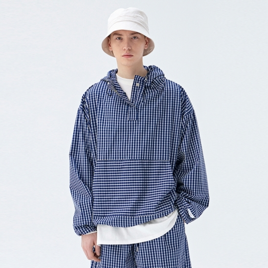 [COUCOU] TRAINING TRACK ANORAK_BLUE CHECK