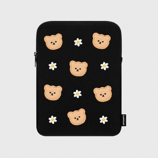 Dot flower bear-black-ipad pouch(아이패드 파우치)