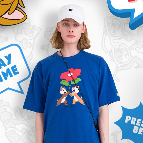 Chip n Dale Present T-shirt(CLASSIC BLUE)