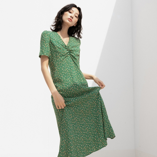 DUL SMALL PATTERN FLUTTER LONG OPS GREEN