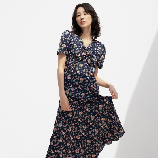 DUL PATTERN FLUTTER LONG OPS NAVY