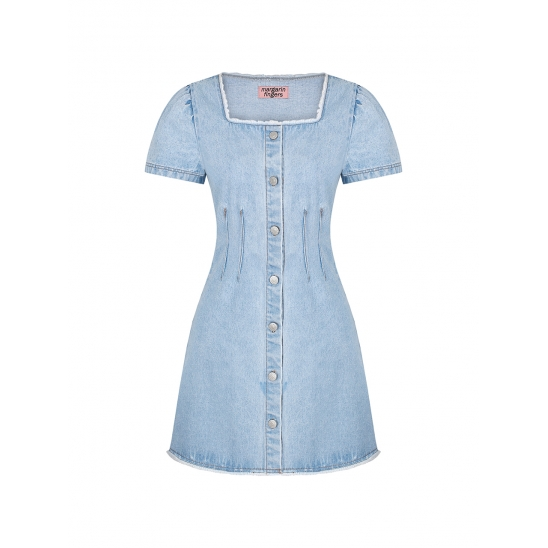 square denim one piece light blue