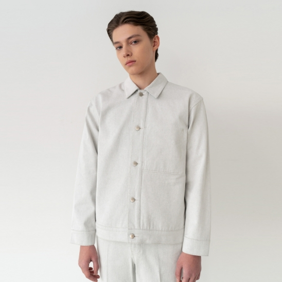 Minimal Trucker Jacket - Ivory / Semi Over