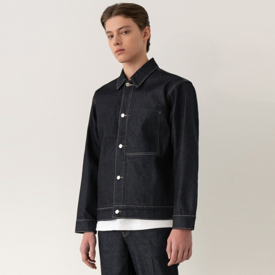 Minimal Trucker Jacket - Deep Blue / Semi Over