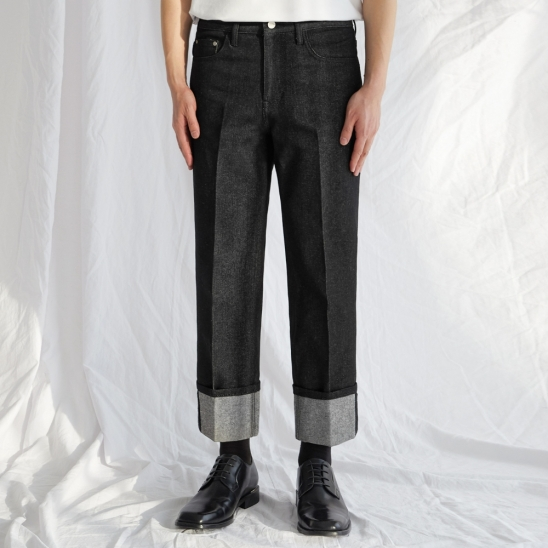 Denim Roll-up Pants - Black