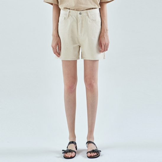 RUBY WIDE COTTON SHORT_OATMEAL