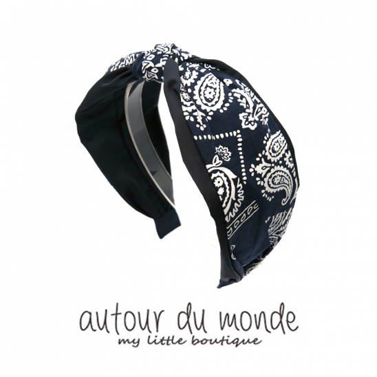 paisley knot hairband (navy)