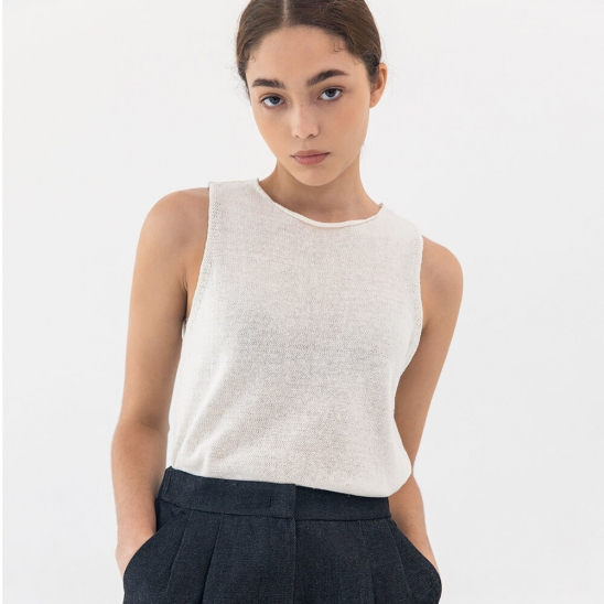 Knit linen sleeveless (ivory)