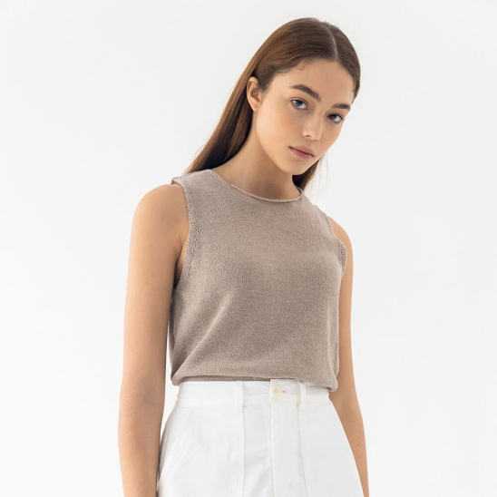 Knit linen sleeveless (beige)