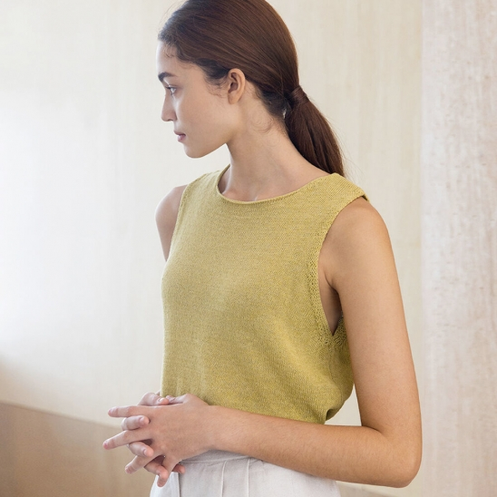 Knit linen sleeveless (olive)