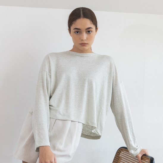 Linen crop long sleeve (mint)
