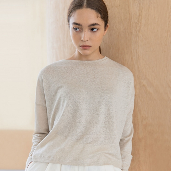 Linen crop long sleeve (oatmeal)