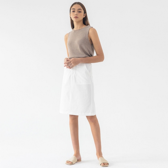 Linen banding skirt (white)