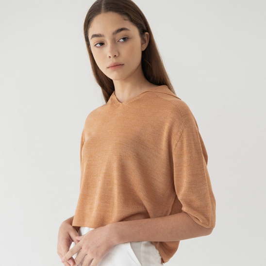 Wholegarment linen knit (soft ocher)