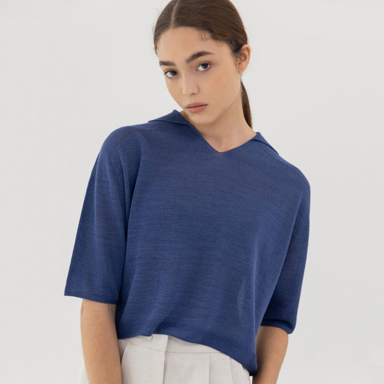 Wholegarment linen knit (blue)