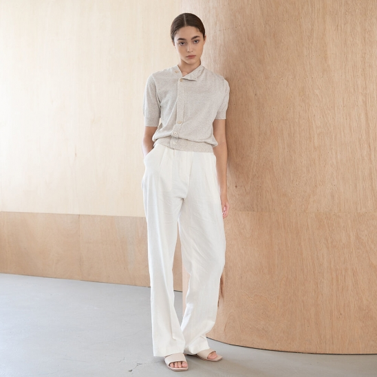 Linen wide slacks (ivory)