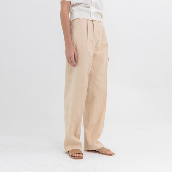 Linen wide slacks (beige)