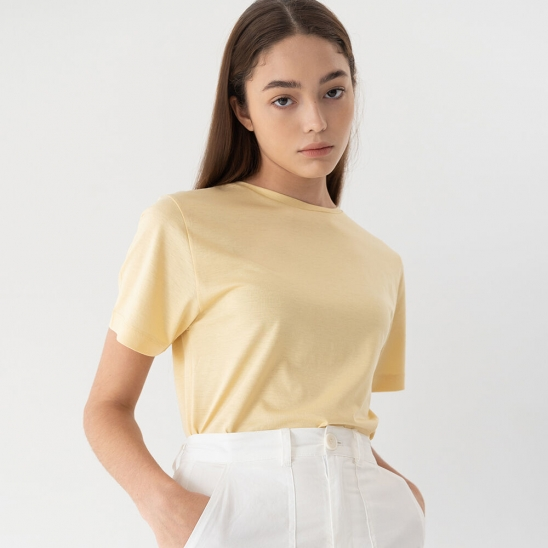 Real silk t-shirt (lemon)
