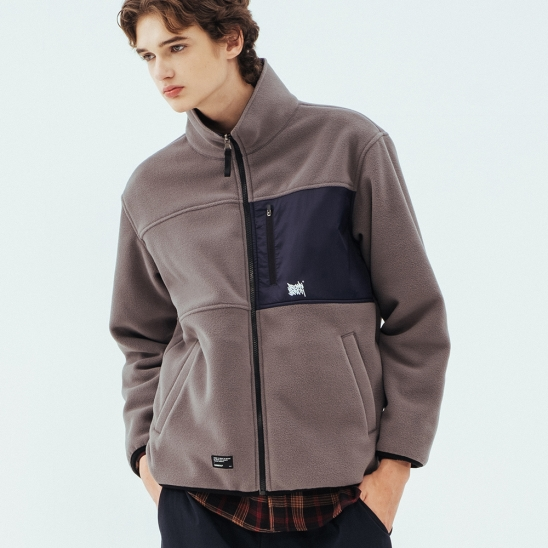 TAG REVERSIBLE FLEECE JACKET - GREY
