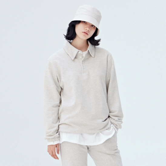[COUCOU] W STRING SWEAT PIQUE SHIRTS_OATEMAL