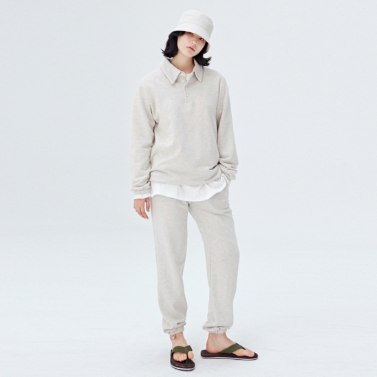 [COUCOU] W STRING SWEAT PIQUE SHIRTS SET UP_OATMEAL