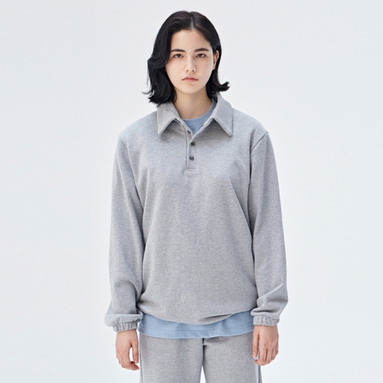 [COUCOU] W STRING SWEAT PIQUE SHIRTS_GRAY