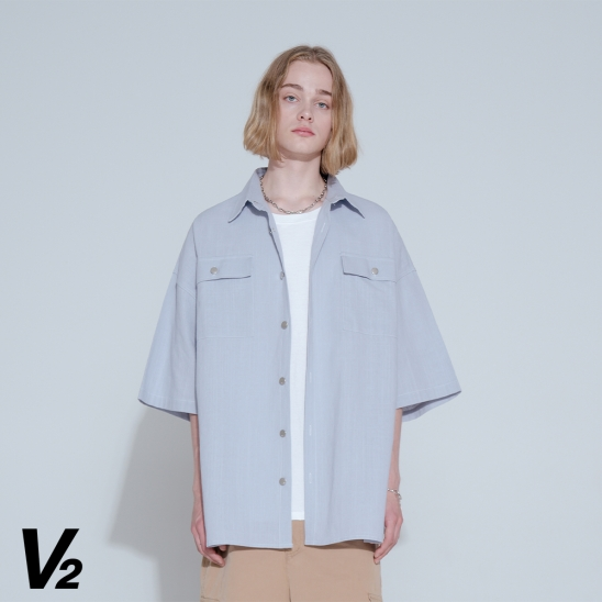 LINEN HALF SHIRT JACKET_SKY BLUE