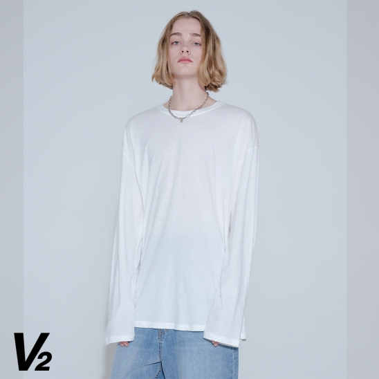 OVERFIT SOLID LOGO LONG T-SHIRT_IVORY