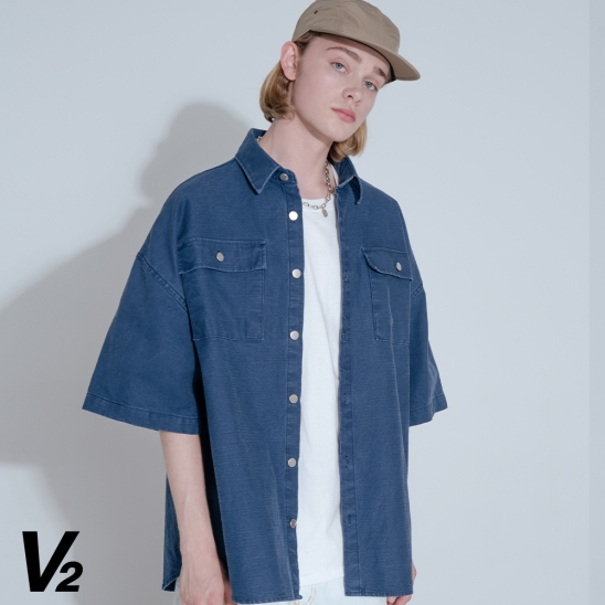 TOUGH DENIM HALF SHIRT JACKET_NAVY