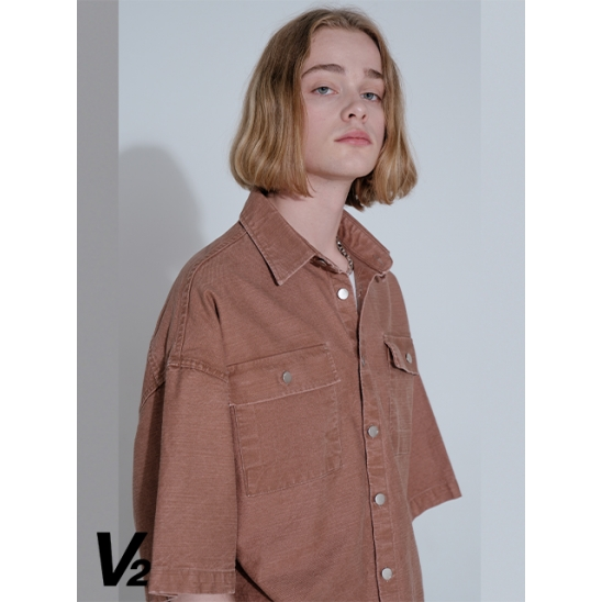 TOUGH DENIM HALF SHIRT JACKET_BROWN