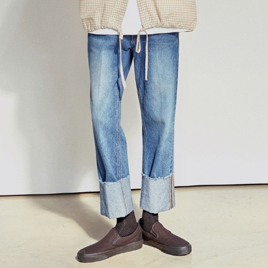 [COUCOU] ROLL-UP BLUE WIDE JEAN_DENIM