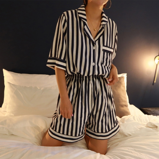 Stripe home wear_navy