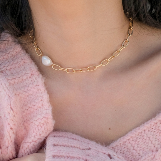 Pearl and clip chain choker necklace