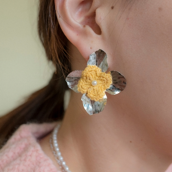 Yellow knit flower and pearl earring