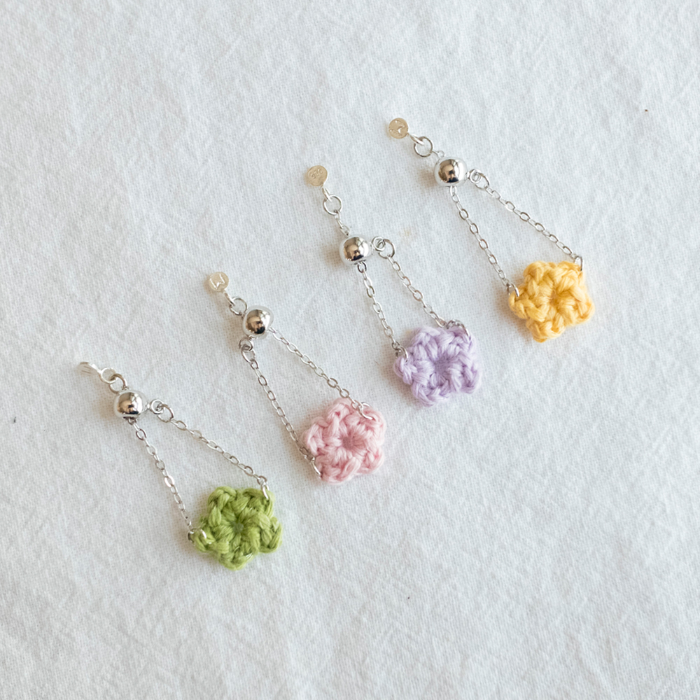 Pastel flower 925 silver chain ring