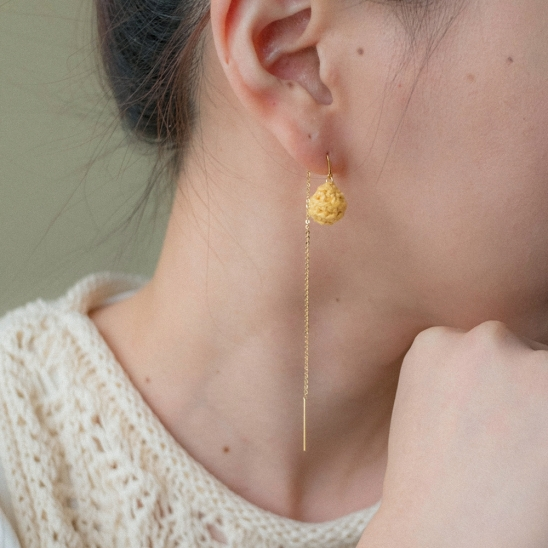 Candy ball with drop chain earring