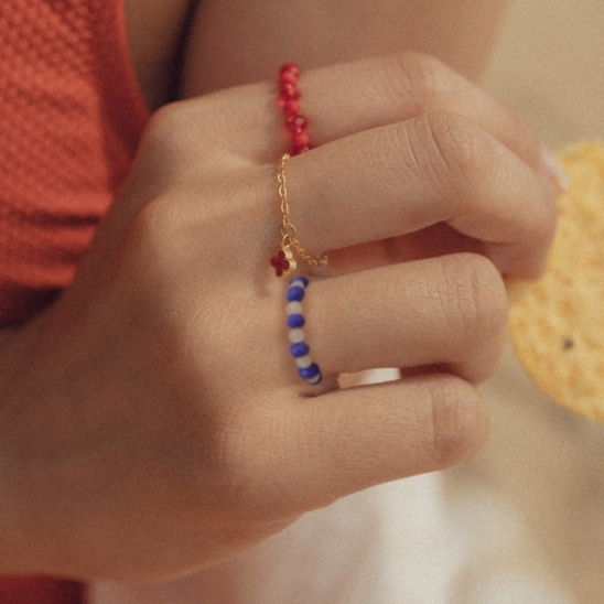 Retro beads ring (Red, Blue)
