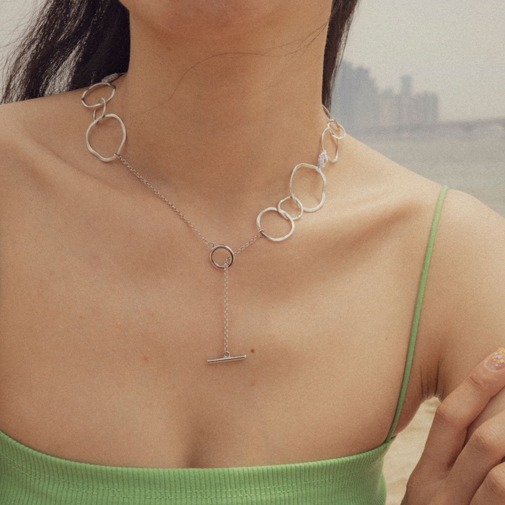 Natural shape circle chain necklace
