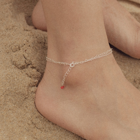 Heart and simple 925 silver chain anklet