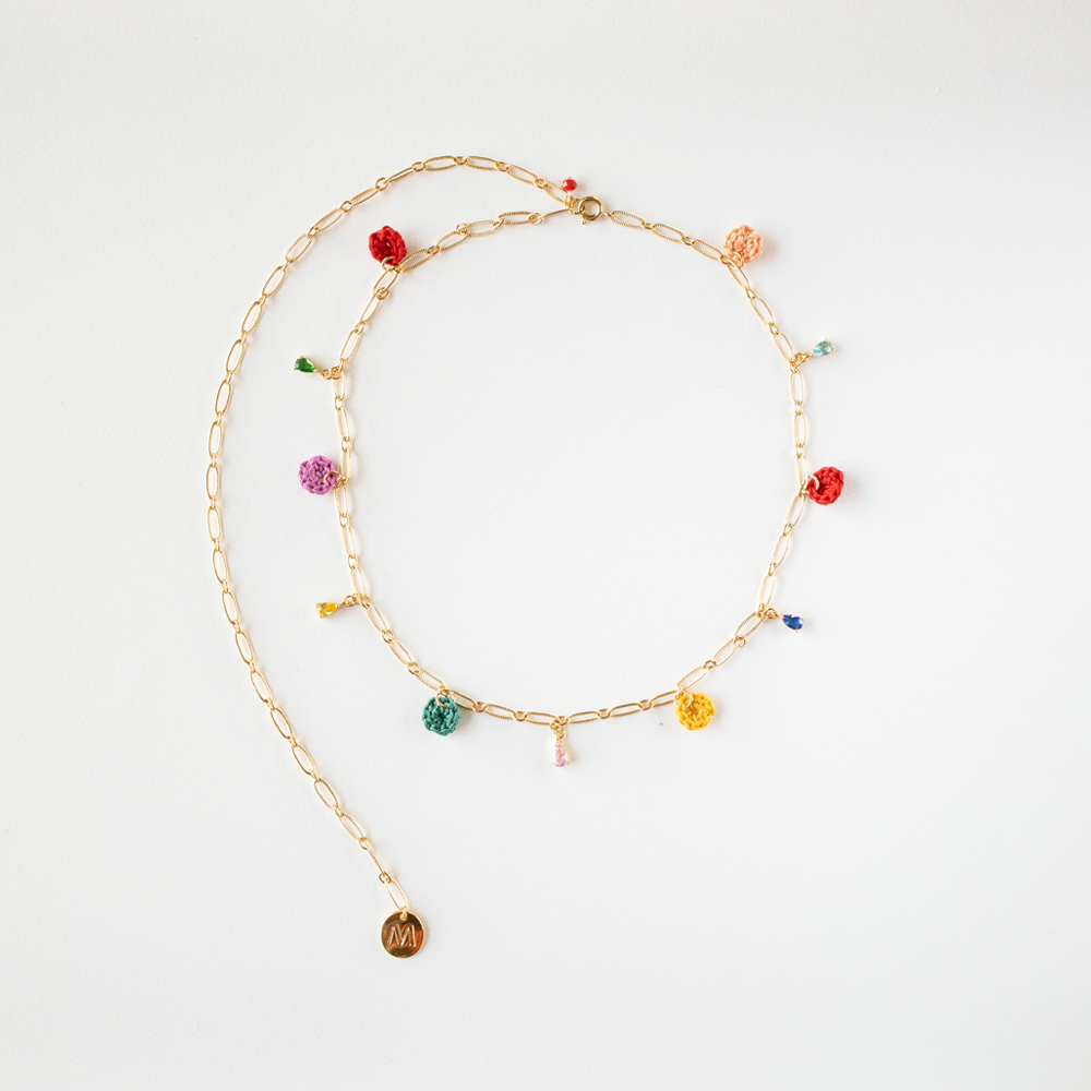 Rainbow oval drop chain necklace