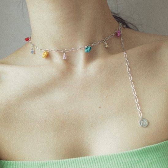 Rainbow oval drop chain necklace (silver)