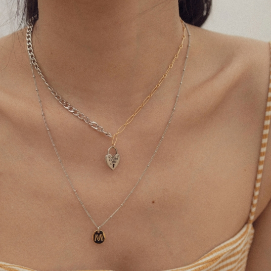 Love vintage mixed chain necklace