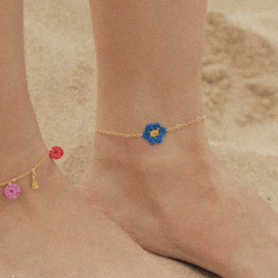 Daisy knit point anklet