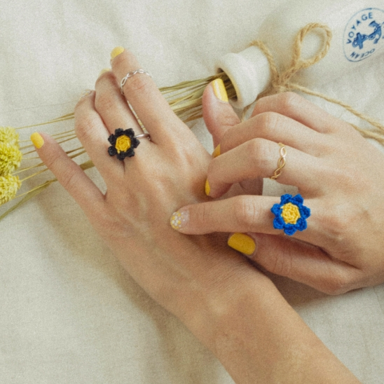 [2SET] Daisy knit and simple ring