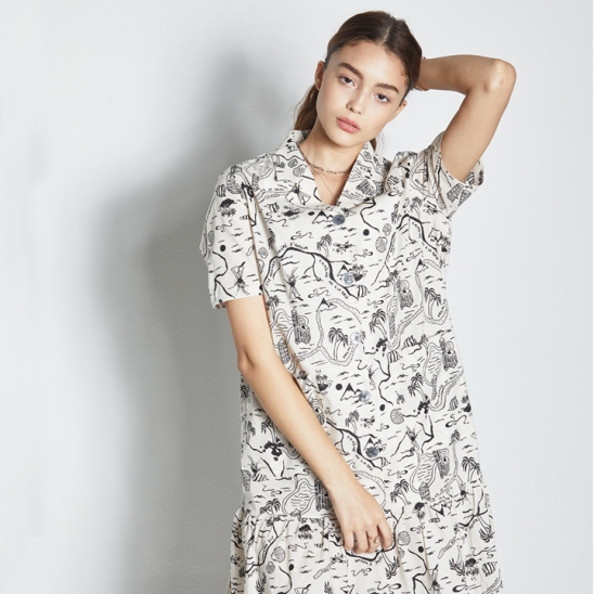 DRAWING SHORT SLEEVE ONE-PIECE WHITE