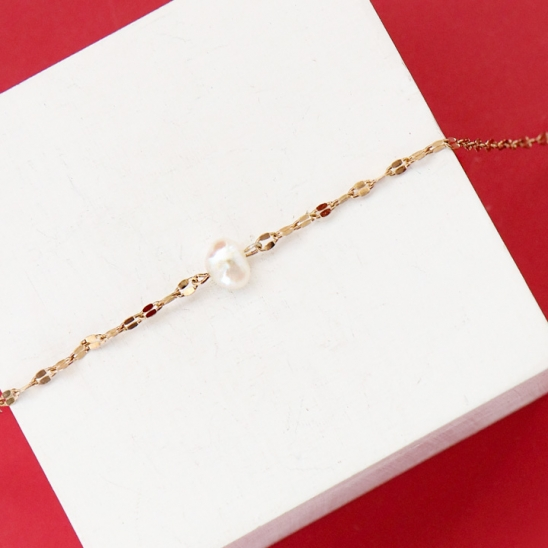 [유니제이]Twinkle Fresh Water Pearl Necklace In90 [Gold]