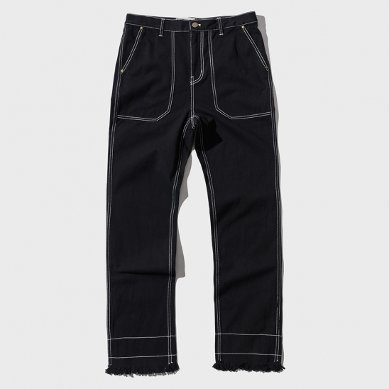 STITCH CUT-OFF PANTS _ BLACK