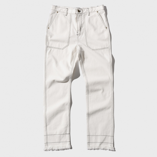STITCH CUT-OFF PANTS _ WHITE