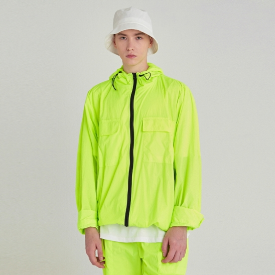 [COUCOU] LIGHT WEIGHT ZIP-UP WINDBREAKER_LIME