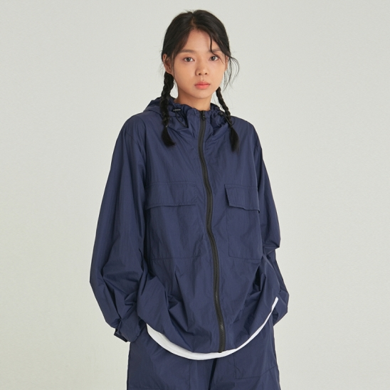 [COUCOU] W LIGHT WEIGHT ZIP-UP WINDBREAKER_NAVY
